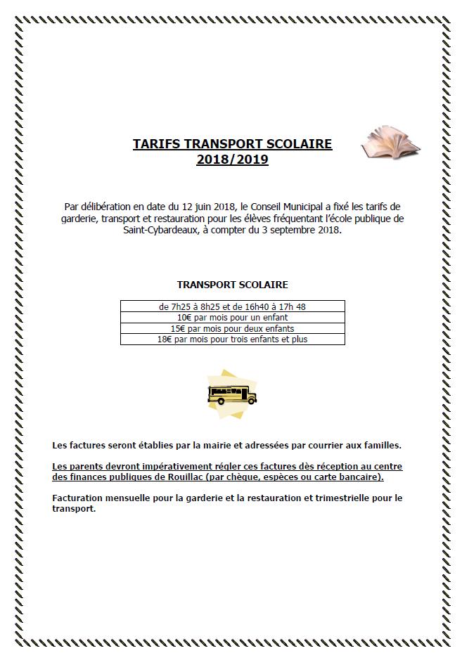 Tarifs Transport Scolaire